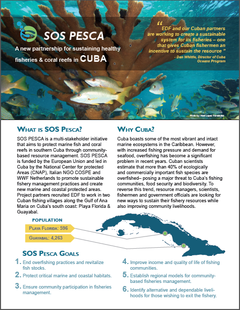 Front page of info sheet I created for EDF Cuba's latest partnership to create sustainable fisheries.