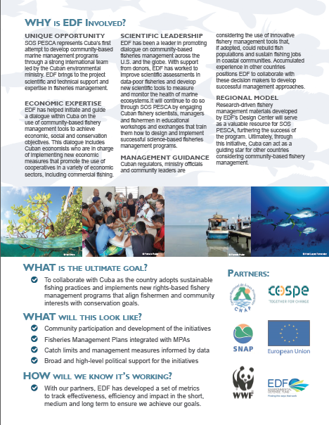 Back page of the info sheet I created for EDF Cuba's latest partnership to create sustainable fisheries