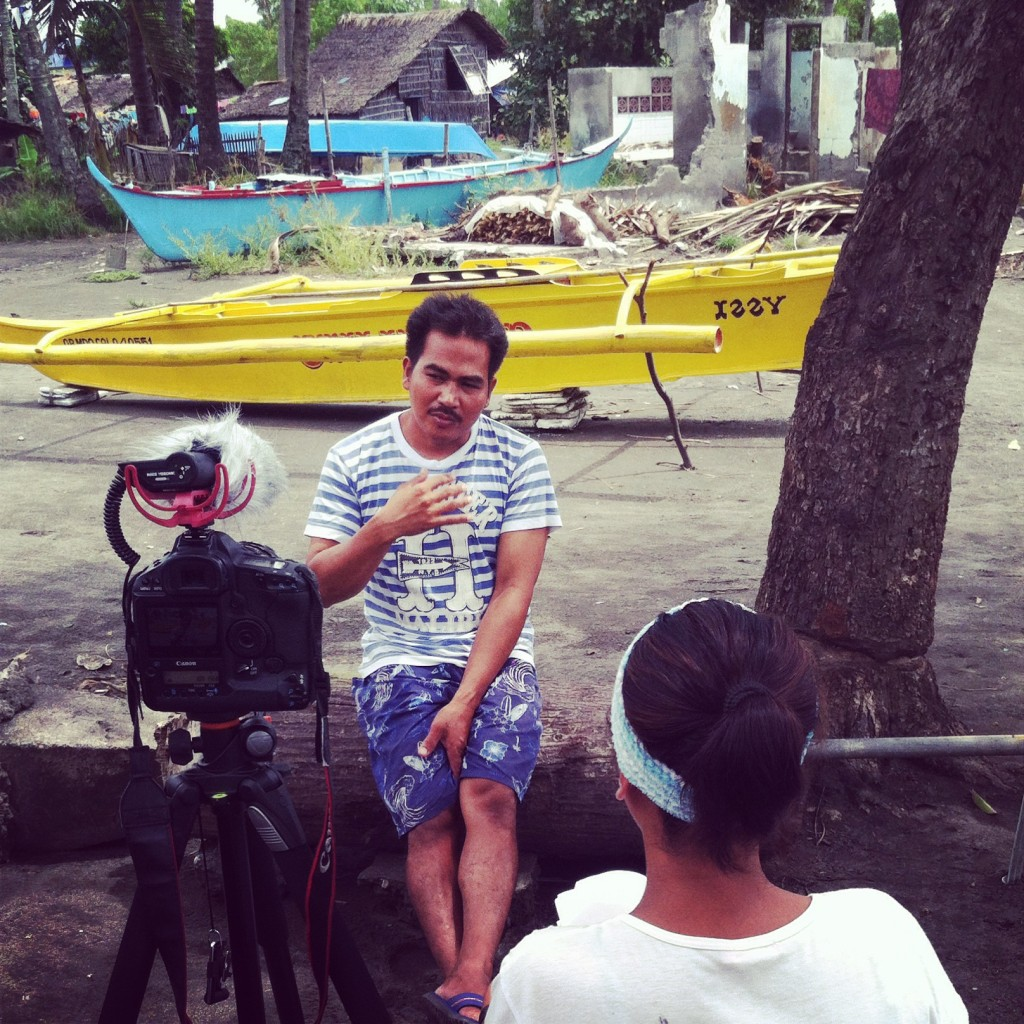 Ate Alma interviewing Kuya Frederick, a local fishermen. Photo by Shannon Switzer