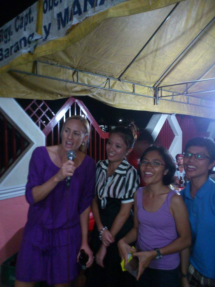 Me and my new Filipino friends enjoying some videoke halfway through my time there doing research for my masters project on community based management of marine resources.