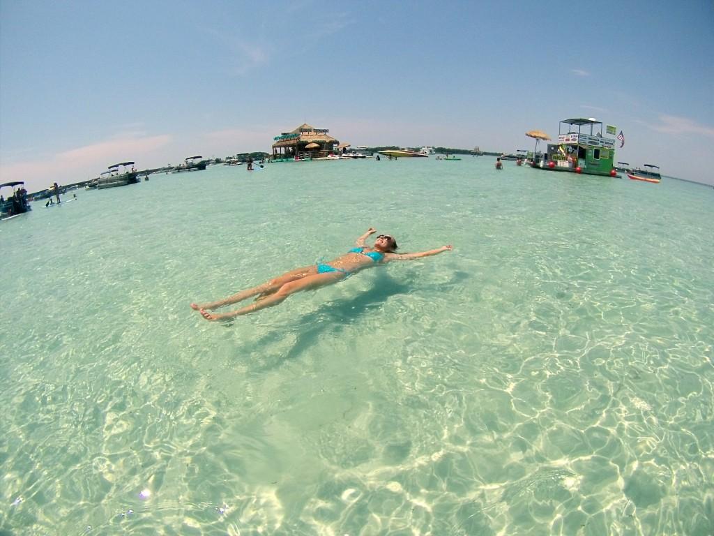 Enjoying the delicious water at Crab Island, Destin, Florida.