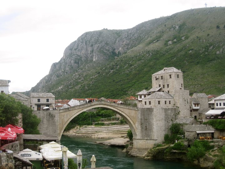 Stari Most (Mostar Bridge) was built in the 1500's, but destroyed by Croat forces during the Siege of Mostar in 1993. It was rebuilt in 2004. Photo by author, 2011.