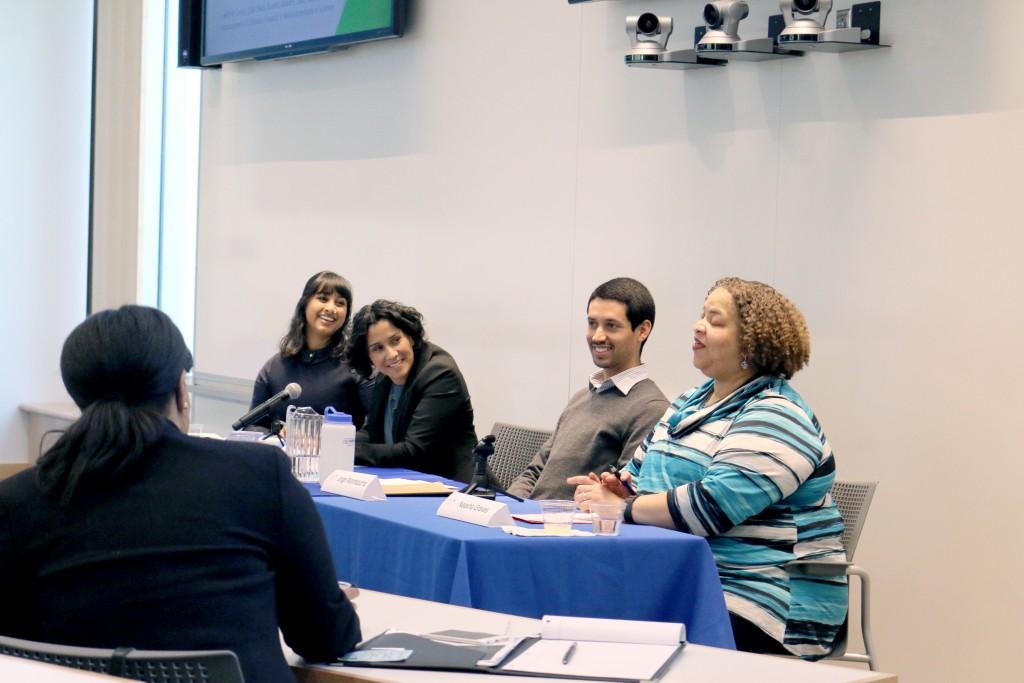 From left to right, student moderator Shaina Nanavati, Jazmin Varela, Jorge Montezuma, and Neasha Graves.