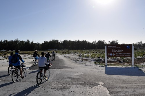 The main form of transportation on the island is by cruiser bicycle. Here is the CEM class riding away from Turtle Beach to head back to Charlie Barracks.