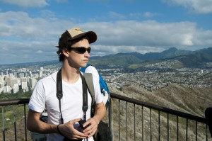 Josh Stoll surveys Honolulu from the top of Diamond Head Crater.