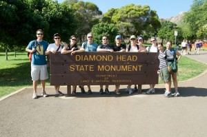 The whole gang gathers for a shot in the center of Diamond Head crater.