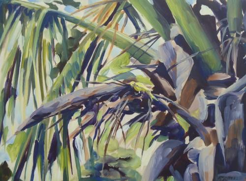 Non-native canary in palm