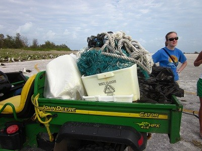 Some of the pile of debris we collected. Yes that is a mop bucket...