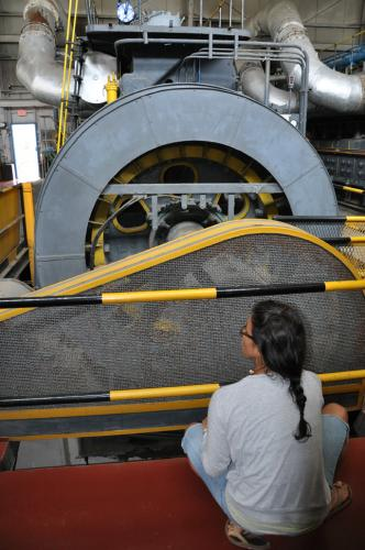 CEM Kristen Maize checking out the old generators.