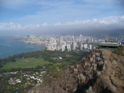 A view of Waikiki from the summit of Diamond Head. Note the vast development that has occurred due to European settlers and the tourism boom.
