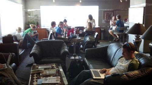 Hanging out in the Bradley Pacific Aviation Lounge