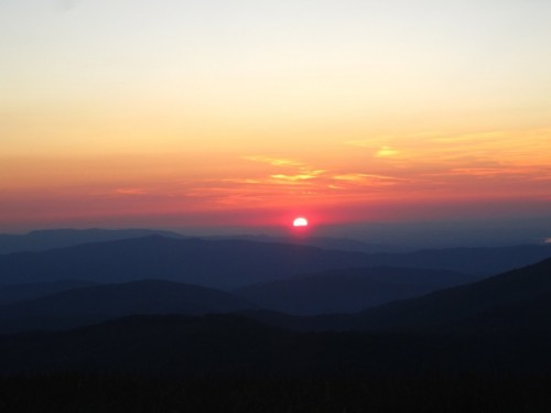 The sun setting over the Great Smoky Mountains from Max Patch.