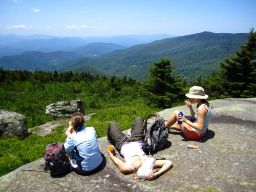 The Asheville interns lunching on Grassy Ridge Bald during our early June trip.