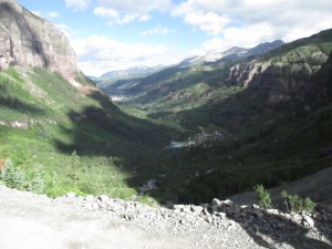 The view from the start of the Telluride Via Ferrata. You can see the town down in the valley.