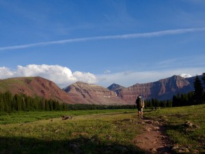 Backpacking into the Uintas on July 3rd at sunset