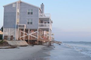 Erosion taking its toll on one of the beach front homes.
