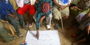 A group of women from Minkwala creating a community map
