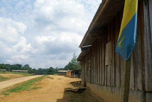 A village chief's house, always marked by a Gabonese flag.