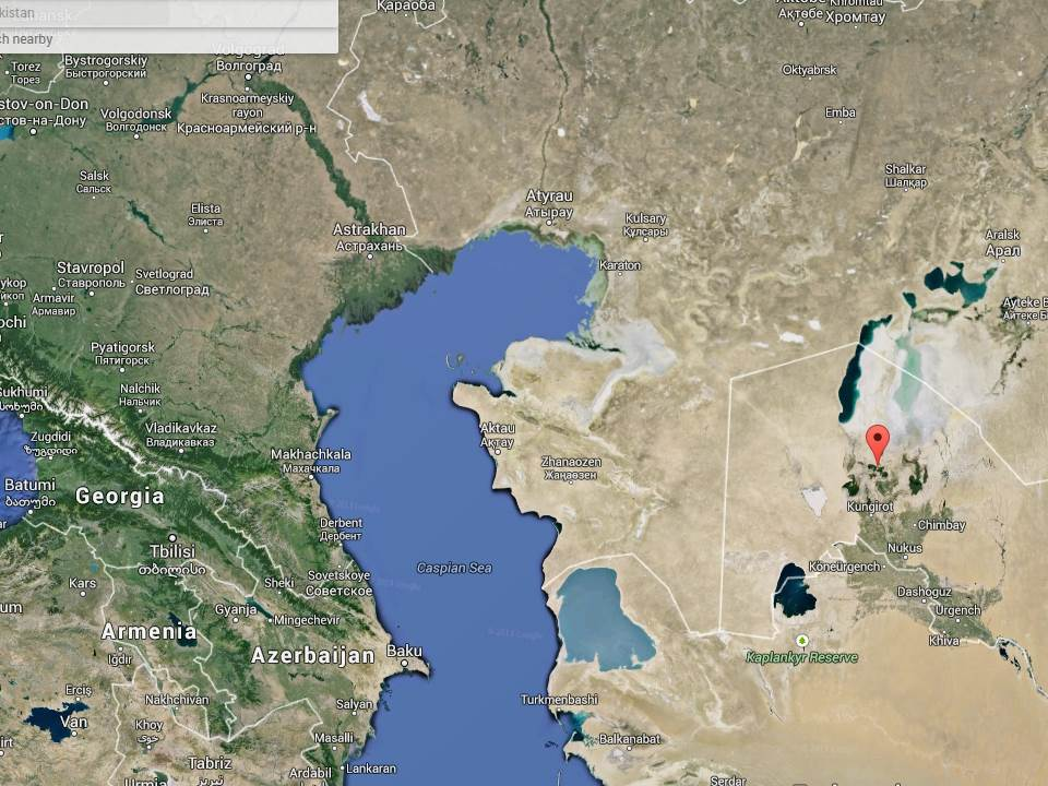 The Aral Sea, in western Uzbekistan and Kazakhstan. I visited Moynaq (the arrow).