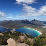 View from the top of Mt Amos of Wineglass Bay in Freycinet National Park, Tasmania. Amazing to have a view like this and only share it with a handful of other people. Got to love Australia's population density (or lack thereof