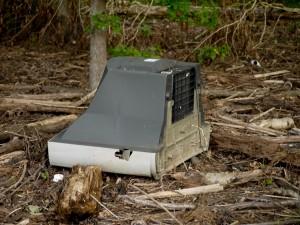 television, trash, litter, falls lake, durham
