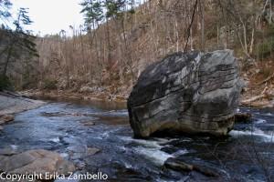 linville gorge, boulder, stream, forest