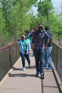 Duke Immerse students explore the Trinity River Audubon Center in Dallas, Texas.