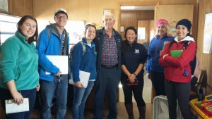 The class with Mr. Millis who runs the Millis fish house, in operation since 1946.