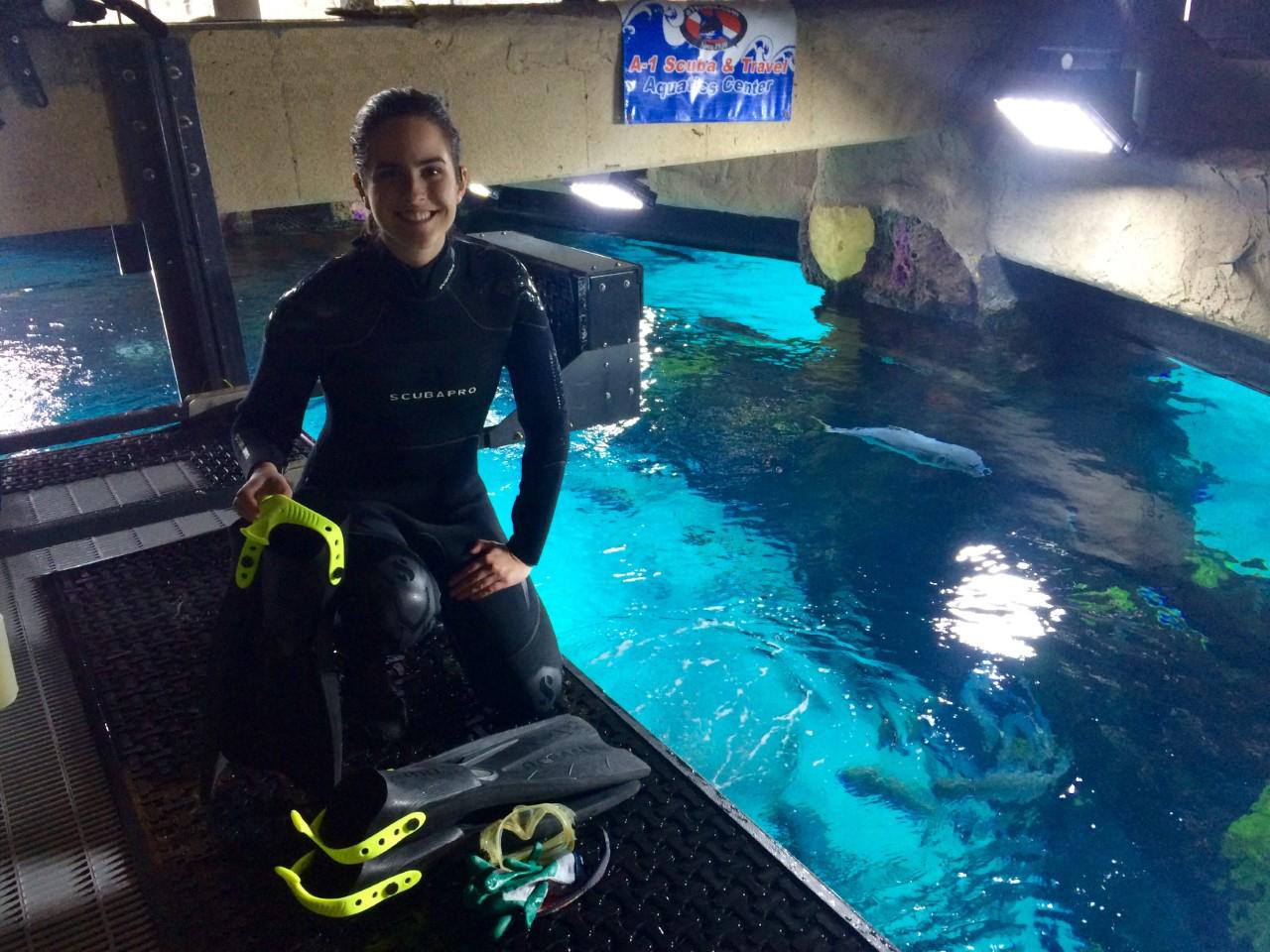 Aquarium diving whats it like submerged preparing for a hookah dive diving without an air tank in an aquarium exhibit xflitez Choice Image