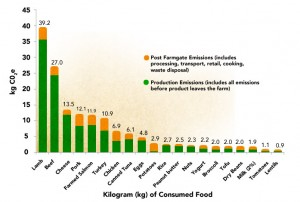 Carbon emissions for different foods