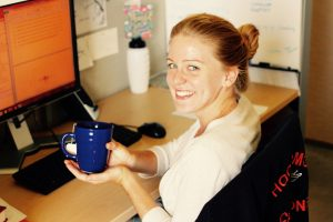Fellow Nicholas School blog writer Sarah brings her own mug to seminars and coffee hours.