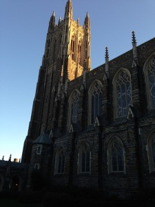 I was trying to capture the light from the sunset hitting Duke Chapel. It's so lovely to walk by this every day.